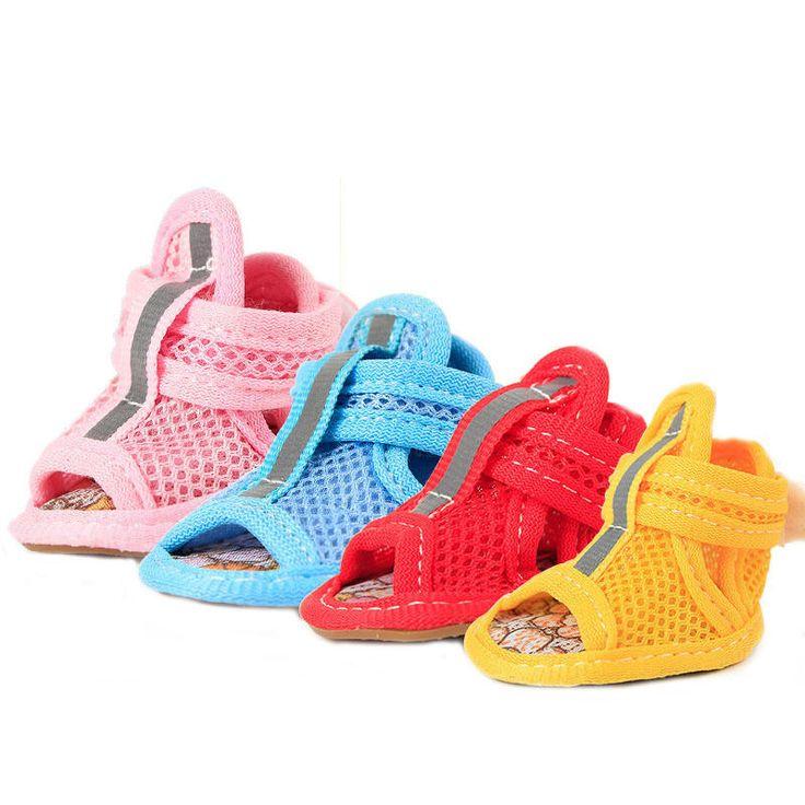 4pcs/set Dog Summer Shoes Breathable Mesh Puppy Shoes Dog Sandals Shoes   | eBay