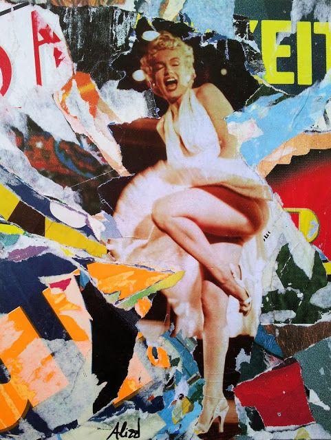 Umberto Alizzi Marilyn Monroe décollage art collage pop art contemporary art arte contemporanea quando la moglie è in vacanza