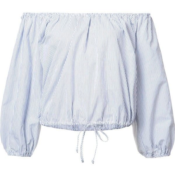 Sea off-shoulders striped blouse found on Polyvore featuring tops, blouses, shirts, blusas, blue, off the shoulder tops, stripe shirt, off shoulder blouse, blue striped shirt and blue shirt