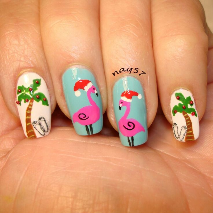 a tropical Christmas nail art