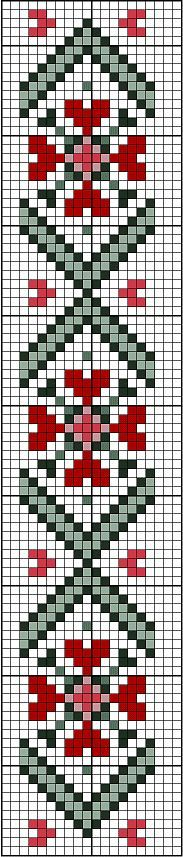 Hearts bookmark or border. Free sewing pattern graph for cross stitch or plastic canvas.