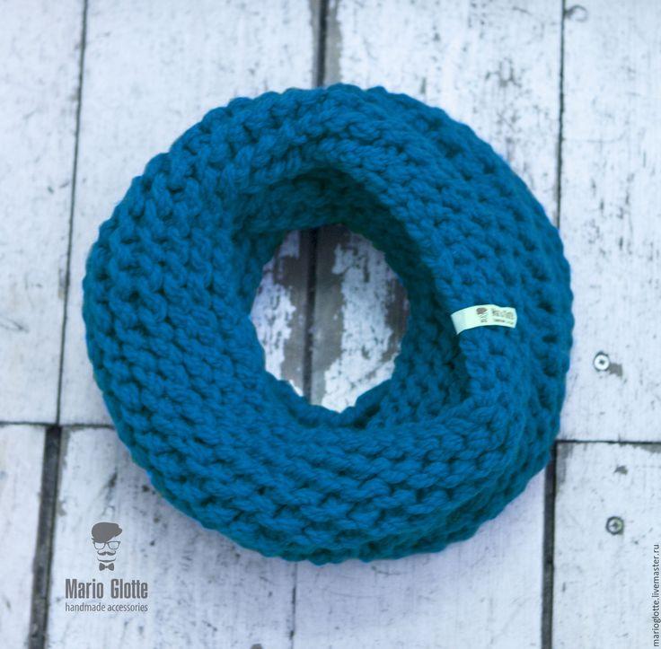 Купить Снуд вязаный из мериносовой полушерсти цвета морской волны - однотонный, мериносовая шерсть
