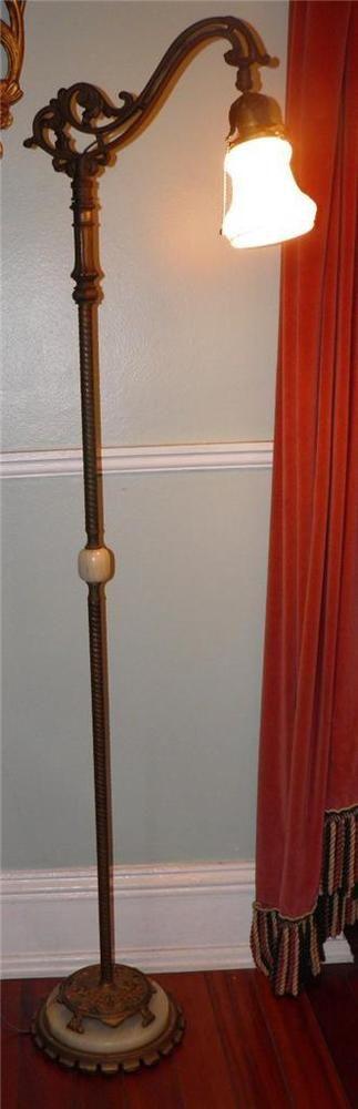 High Quality ANTIQUE REMBRANDT FIGURAL BRIDGE FLOOR LAMP ONYX BRASS CAST IRON GLASS  SHADE #Rembrandt $650