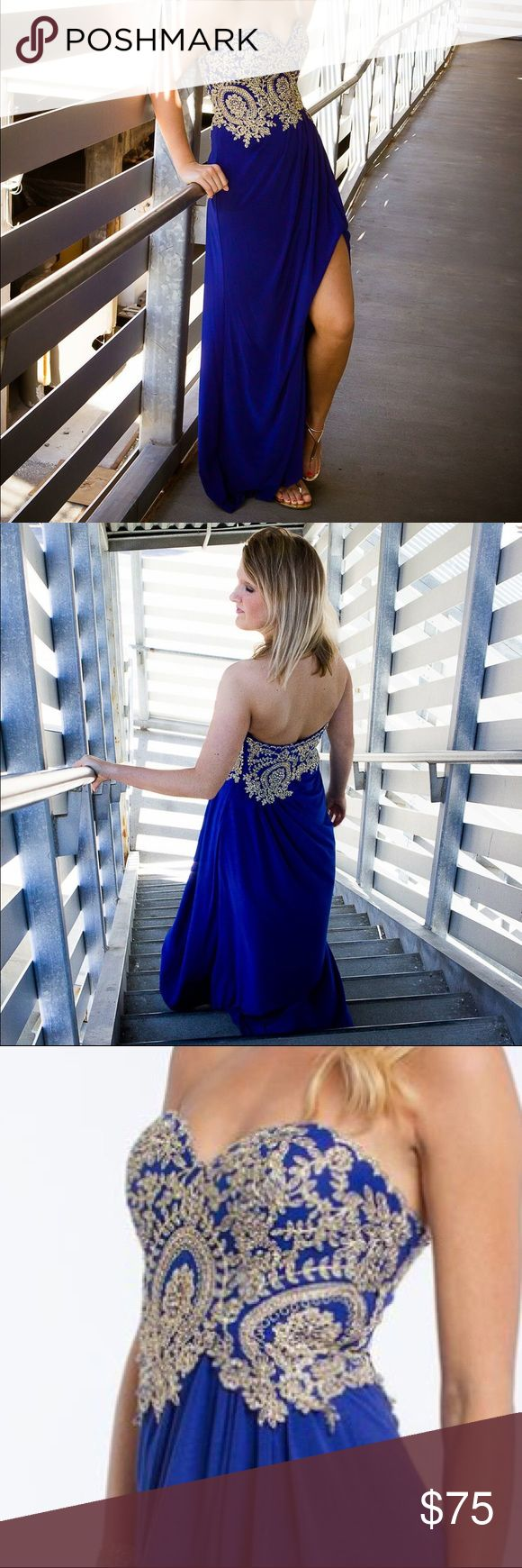 Sale~Camille La Vie strapless long dress size 0 Camille La Vie strapless long prom dress size 0 with gold motif and a side slit. Bust 14 1/2 in, waist 12 in, length 50 in. 100% polyester camilla la vie Dresses Prom