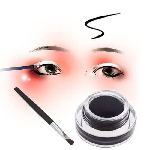 Music Flower 2 in 1 Brown + Black Gel Eyeliner Make Up Waterproof Cosmetics Set with 2 Eyeliner Brushes
