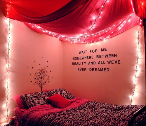 wall decoration: Wall Decor, Color, Christmas Lights, Wall Quotes, Peter Pan Quotes, Dorm Rooms, Girls Rooms, Bedrooms Ideas, Canopies