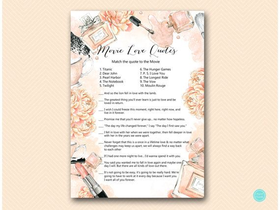 Parisian Fashion Movie Love Quote Match Game by MagicalPrintable #babyshowerideas4u #birthdayparty  #babyshowerdecorations  #bridalshower  #bridalshowerideas #babyshowergames #bridalshowergame  #bridalshowerfavors  #bridalshowercakes  #babyshowerfavors  #babyshowercakes