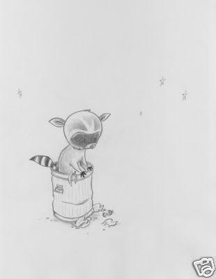 Sketches :: Racoon in Garbage Can