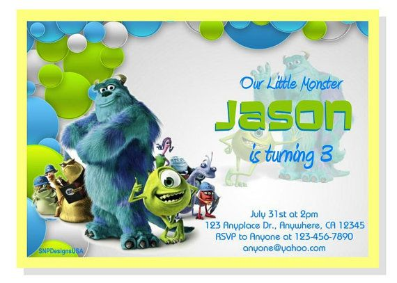 44 best Monster Inc Invitations images on Pinterest Birthday