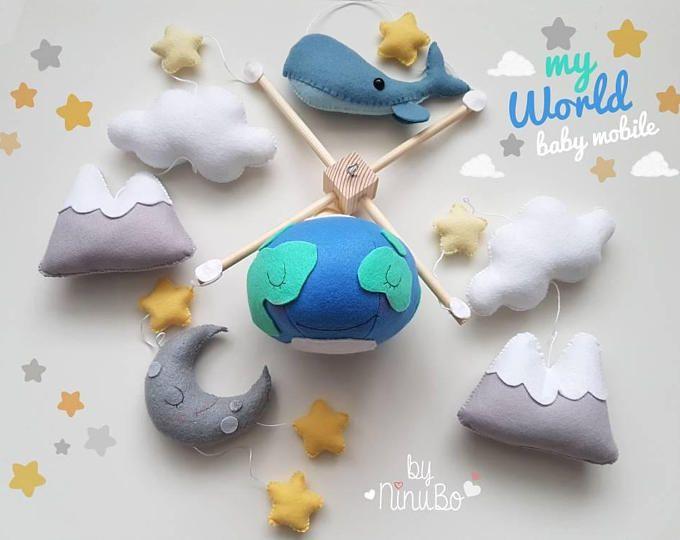 Mi mundo móvil - cuna - cuna móvil - tierra - mundo - montaña Mobile - planeta móvil - ballena móvil - Luna móvil del bebé