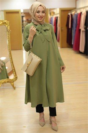 6ab86fa7efb3b Famelin-5749-Yakası Kravatlı Tunik-Yağ Yeşili | Tunik tesettür giyim ...