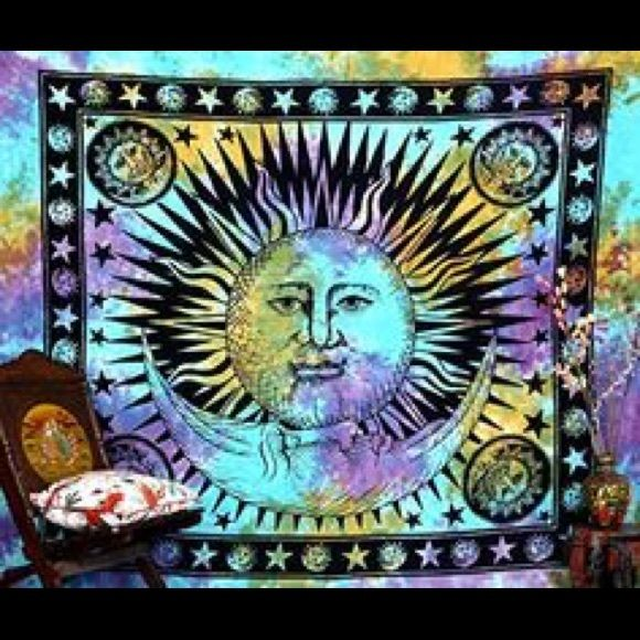 Moon & Sun Tapestry Blue, purple and gold Tapestry exactly like the one showed in the picture. Urban Outfitters Accessories