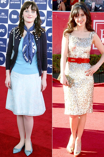 Many of Hollywood's stars have grown up in front of our eyes. Take a look at some of the stars who went from geeky kids to chic stars! First up, is Zooey Deschanel. On February 24, 2004, the then-indie queen Zooey Deschanel had the vintage-inspired blues at the 2004 IFP Independent Spirit Awards in Santa Monica, CA.    July 11, 2012: The New Girl star has given up her cardigan for sparkles at the 2012 ESPY Awards in Los Angeles. http://insdr.co/PtWxm9: The New Girl