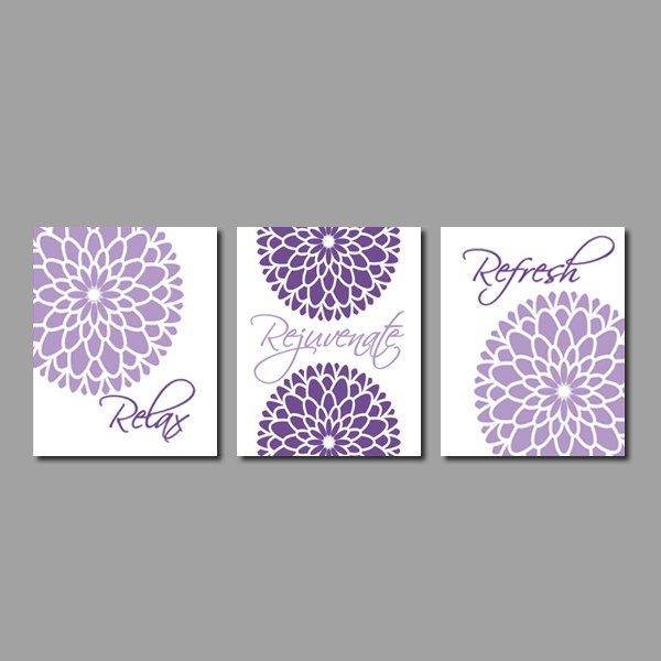 Modern Floral Flower Flourish Artwork Set Of 3 Trio Prints Relax Rejuvenate  Refresh Purple Grey Gray Wall Art Decor Bathroom Home Picture Part 37