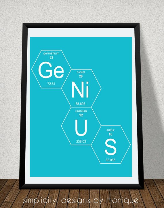 GeNiUS Chemistry Art 8x10 Digital Print featuring chemical element information from the periodic table, each framed by hexagons.