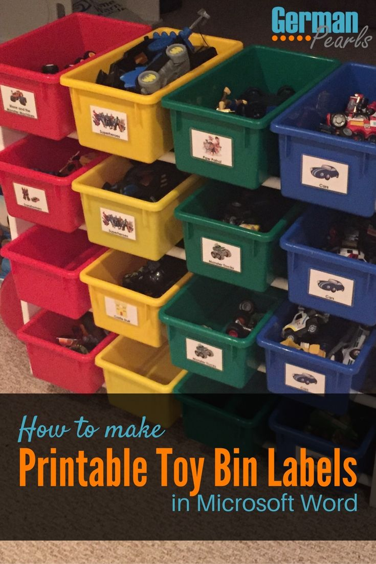 This tutorial makes it so easy to make your own printable labels for toy storage bins. Finally a way to organize the kids toys so they can clean up after themselves!