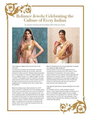 Reliance Jewels: Celebrating The Culture Of Every Indian An exclusive interview with Sunil Nayak, CEO of Reliance Jewels www.reliancejewels.com ‪#‎reliancejewels‬ ‪#‎bethemoment‬ ‪#‎gold‬ ‪#‎earrings‬ 3necklace ‪#‎jewellery‬‪#‎magazine‬ ‪#‎advertorial‬