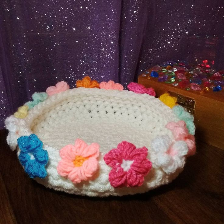 Crocheted flower bowl ...coming soon to The Weasel's Whiskers. #theweaselswhiskers #flower #flowers #flowery #crochet #crocheted #wool #yarn #bowl #basket #handmade #etsy #etsyshop #comingsoon #decor #housedecor
