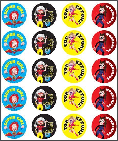 Stickers Super Girl. Out of this world, top effort, wonderful. Teacher sticker pack. Contains 100 sticker. Merit award.