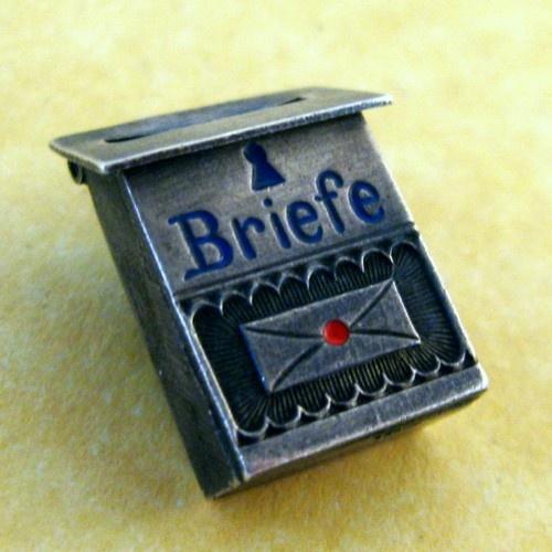 Antique German Silver Souvenir Enamel Opening Briefe Mailbox Charm Bad Elster   eBay