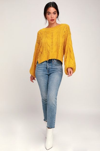 2db4772dc04e0 Alden Mustard Yellow Cropped Balloon Sleeve Knit Sweater
