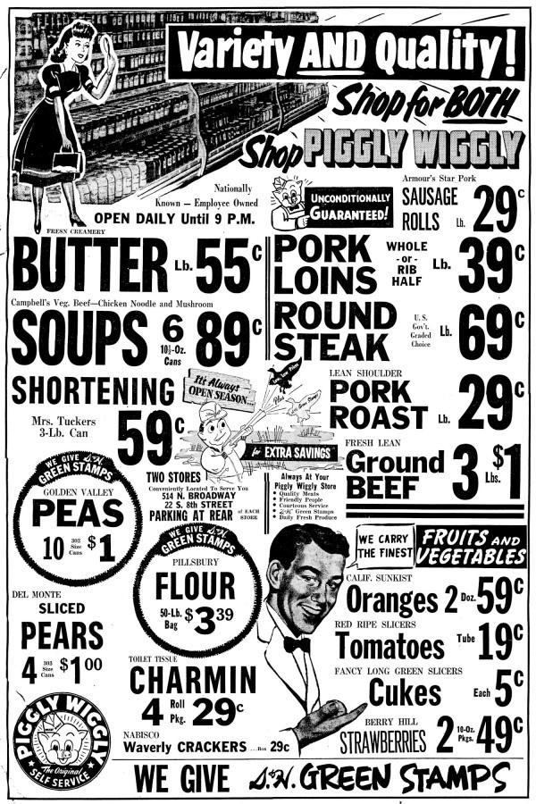 Piggly```````````````````````````````````````````````````````````````````````````````````````Wiggly ad circa 1950s