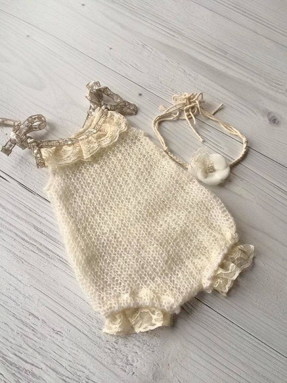 Cod 7 Knit Newborn Romper  Mohair Romper by 4littleprincessstore