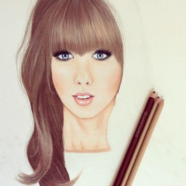 Beautiful Girl drawing, blue eyes, long hair / Bella ragazza, disegno, occhi azzurri, capelli lunghi - Illust. by daintydrawings