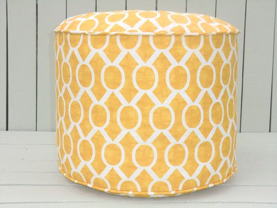 "Yellow pouf ottoman, round ottoman 18"", bean bag chair, trellis pouffe ,  yellow floor cushion, childrens chair seating"