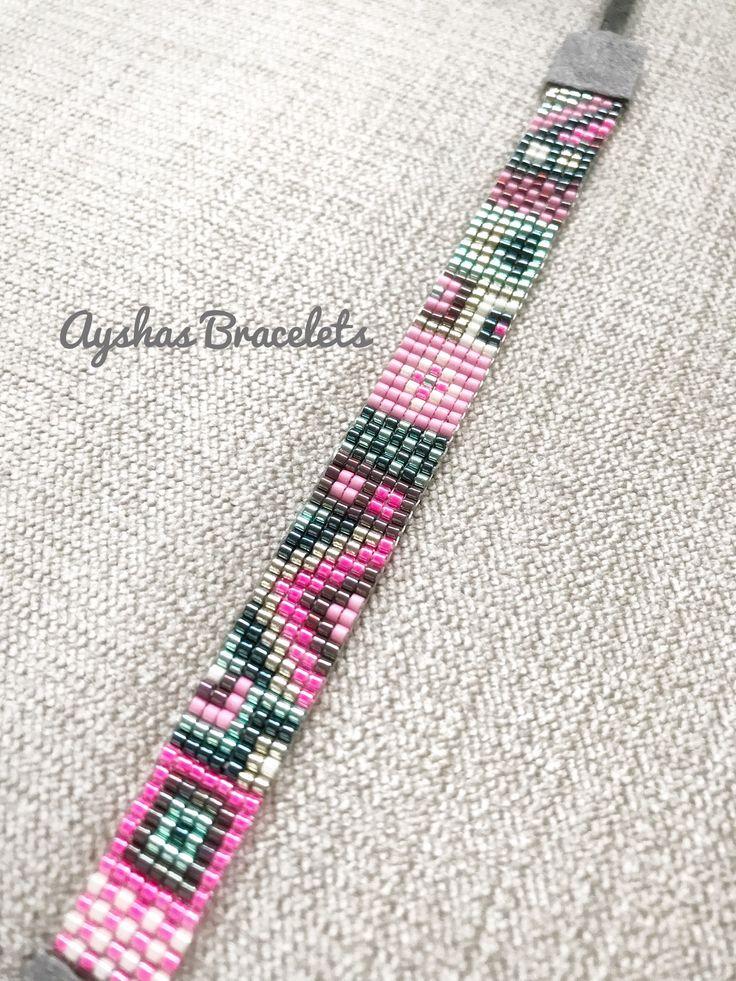 Pink Green Silver Miyuki Bracelet with grey suede ending / Beaded Bracelet / Boho Style / Miyuki Bead Bracelet / Miyuki Delica