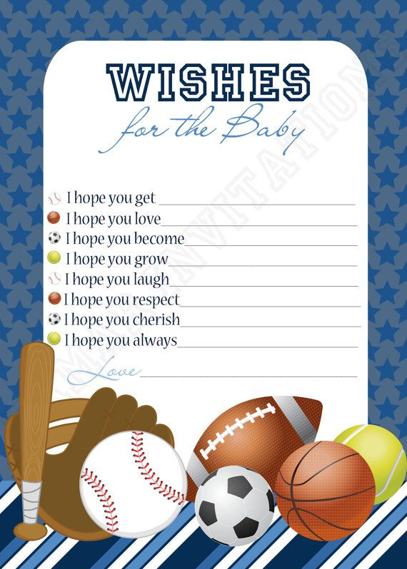 Printable SPORTS BABY SHOWER Wishes card by TamarInvitations