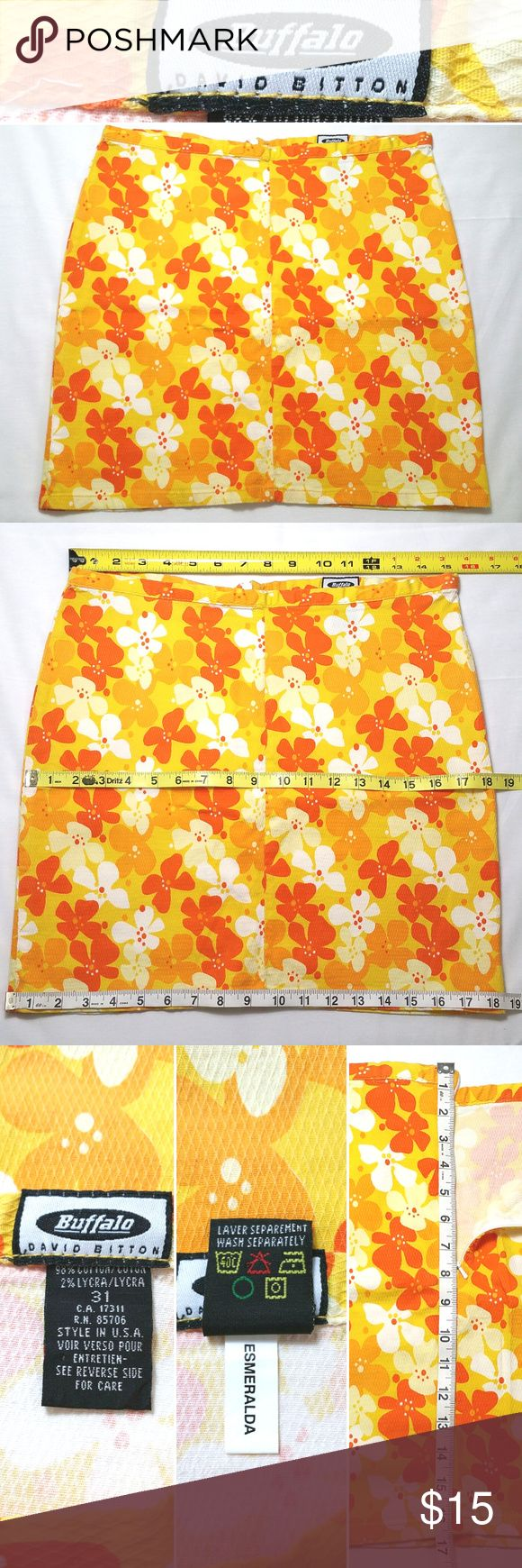 """Buffalo David Bitton Floral Straight Skirt Stretch Condition: Gently used, no flaws. Size:  31 Pattern/Color:  Flora/Orange, Yellow Style: Straight Lined: No Pockets: No Material: 98% Cotton, 2% Lycra Other Details: back zipper Care: Machine wash  Approx. measurements (laying flat)  Waist: 15.25""""  Hips: 18.25"""" Length measured from back:  16.25""""  SKU 0217/11 / CLE Buffalo David Bitton Skirts Pencil"""