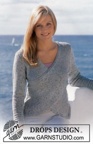 Ravelry: 81-28 Jumper in Silke-tweed and Cotton Viscose with wrap-round at front pattern by DROPS design