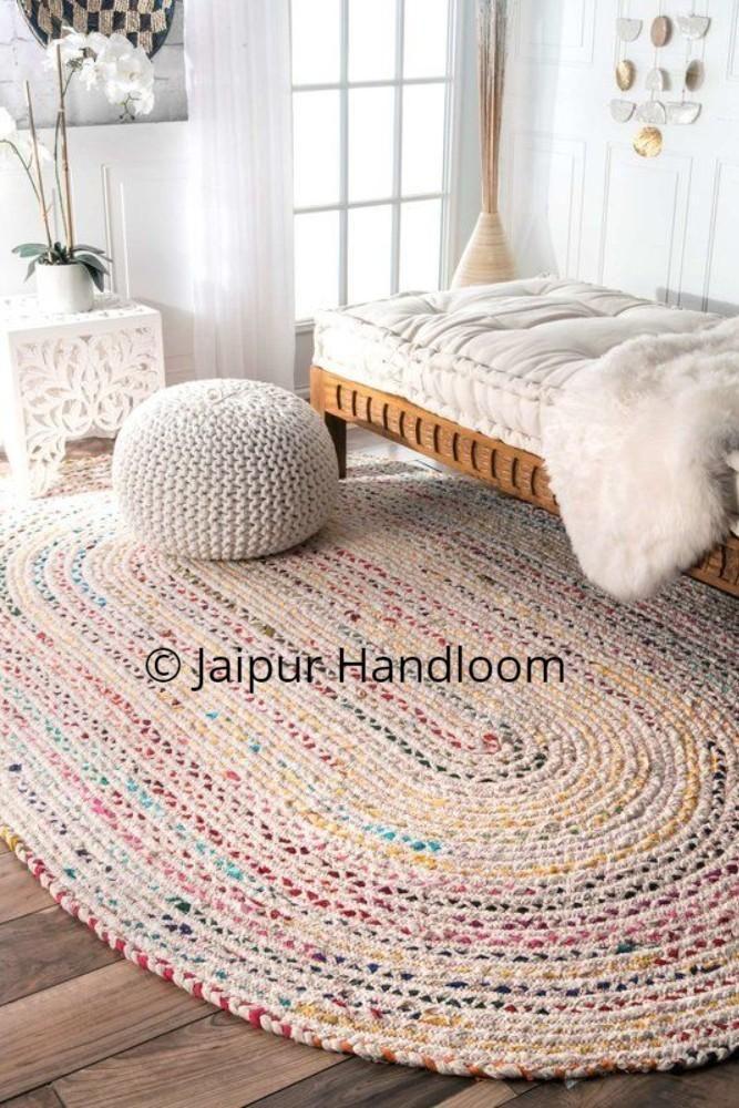 Indian Braided Floor Rug Handmade Cotton Chindi Rug Handwoven