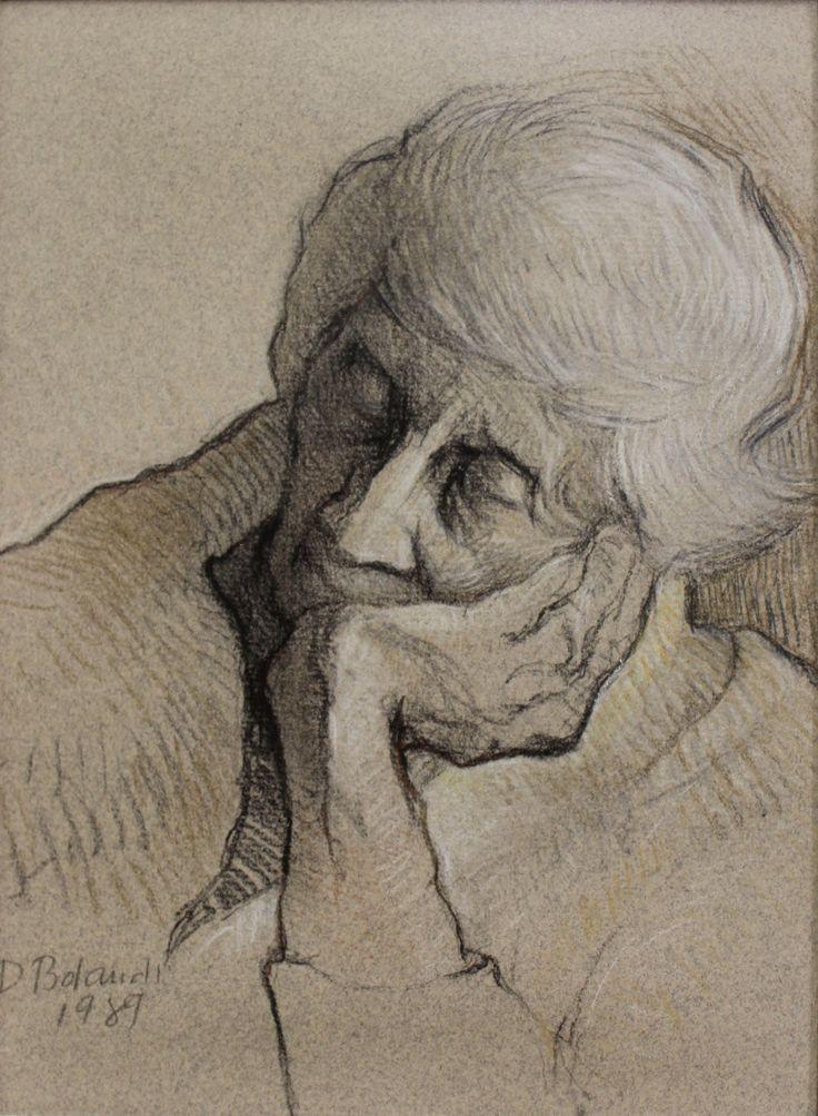 1989 - BOLANDI, Dinora - Doña Marina (retrato) Carboncillo y lápiz de color sobre papel - 26x20cm - Museos Banco Central Costa Rica