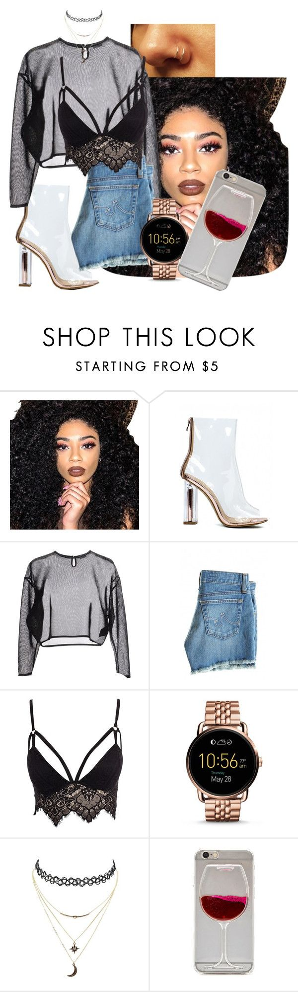 """""""Untitled #141"""" by millanj-fashion on Polyvore featuring Kylie Cosmetics, Yves Saint Laurent, AG Adriano Goldschmied, Club L, FOSSIL and Charlotte Russe"""