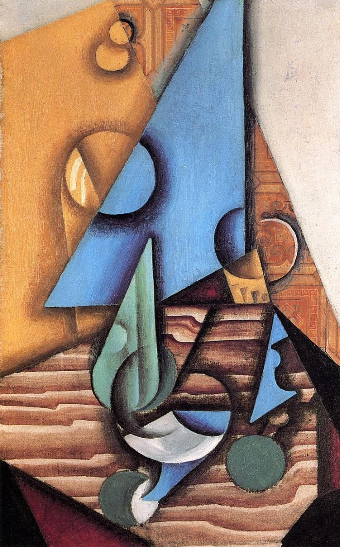 Bottle and Glass on a Table by Juan Gris #art