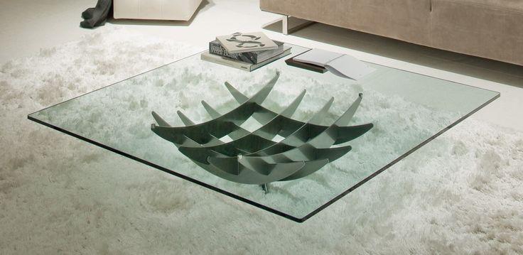 Atlas moderní konferenční stolek se skleněnou deskou a zajímavou podnoží / coffee table with glass top