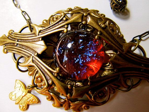 Dragon's Breath Necklace Set Mexican Opal Necklace Fire Opal Filigree Necklace Set- Dragons Lair