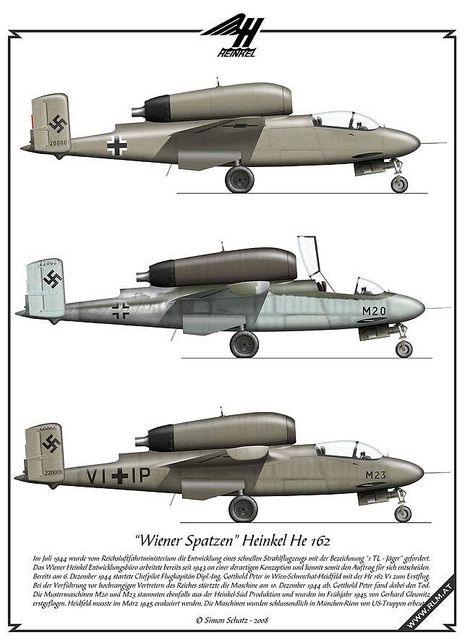 Heinkel He 162 prototype profiles looking surprisingly similar to the much-later Fairchild-Republic A-10 Warthog.