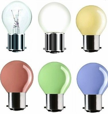 25W WATT BAYONET CAP BC B22 GOLFBALL GOLF BALL ROUND LIGHT BULBS CLEAR COLOURED   AMOUNT	  Our Price: £3.89