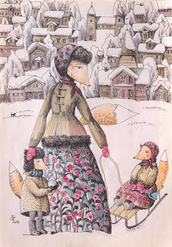 Просмотреть иллюстрацию Зимние гулянья из сообщества русскоязычных художников автора Оля Гребенник (Greol) в стилях: Другое, Графика, Книжная графика, нарисованная техниками: Графика.