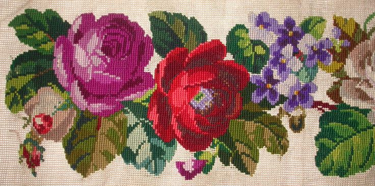 BEAUTIFUL ANTIQUE VICTORIAN LONG TAPESTRY PANEL. ASSORTED ROSES + OTHER FLOWERS | eBay