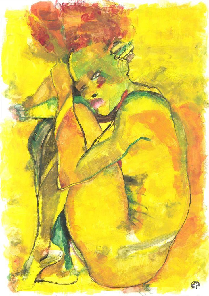 yellow #28 (42 x 30, tempera on paper)