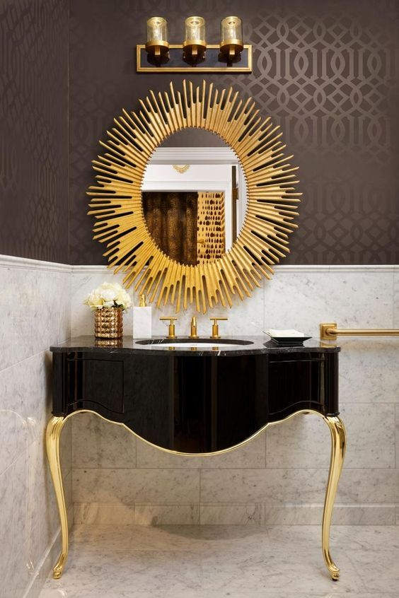 a refined black and gold bathroom vanity and a sunburst mirror is a great idea f… – Lavabos Gi Bety