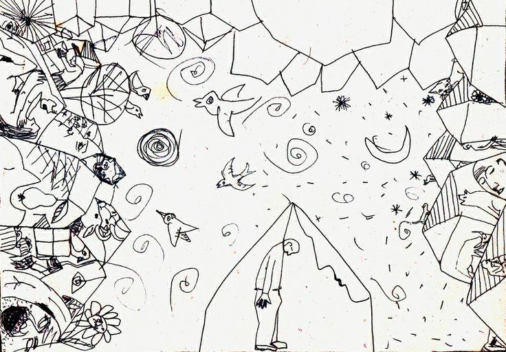 Cobe.micile incidente ale vietii, desen in tus,schita pentru gravura in aquaforte