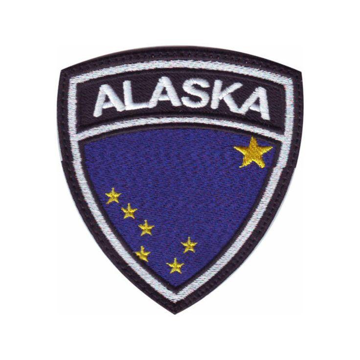 Alaska Major Cities Map%0A Alaska flag crest embroidered patch