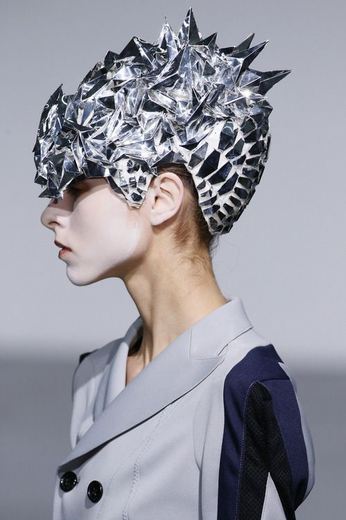 Futuristic Fashion - faceted cap; sculptural headpiece // Junya Watanabe SS13
