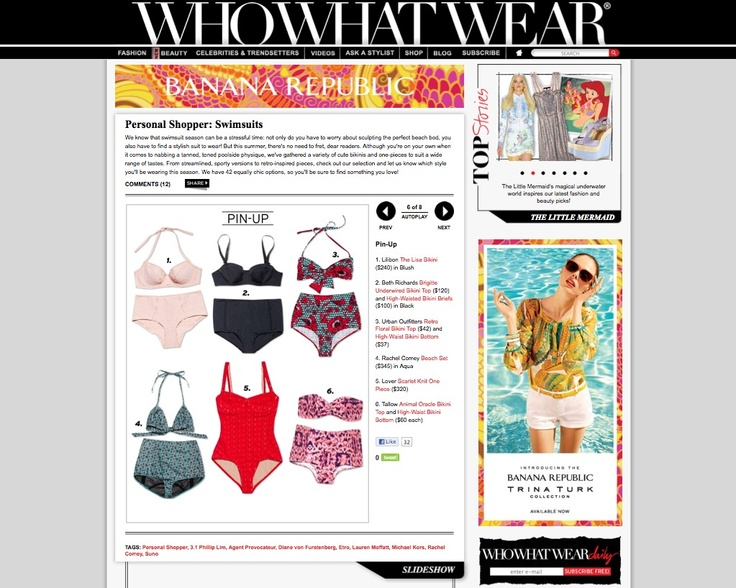 The Brigitte was featured on Who What Wear's Personal Shopper: Our favorite swimsuits