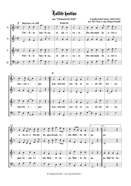 Tollite hostias aus Oratorio de Noël (Gemischter Chor) Camille-Saint Saens (1835-1921) >>> KLICK auf die Noten um Reinzuhören <<<